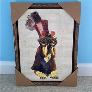 NWT Pier One Dog Painting on Canvas